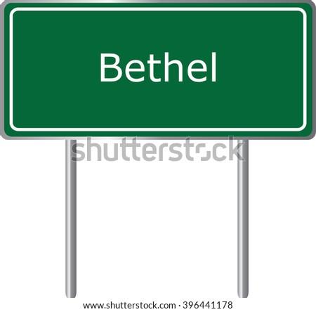 Bethel , Delaware , road sign green vector illustration, road table, USA city - stock vector