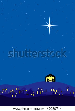 Bethlehem christmas background - stock vector