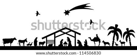 Bethlehem silhouette - stock vector