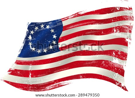 Betsy Ross grunge flag. Flag of  Betsy Ross  in the wind with a texture. - stock vector