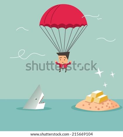 Between shark and gold. Flat vector illustration - stock vector