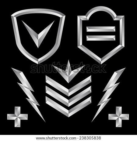 Beveled shield crest emblem element set 3 - stock vector