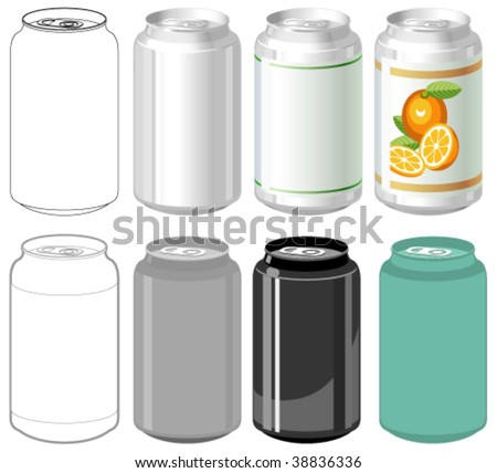 Beverage can in different styles - stock vector