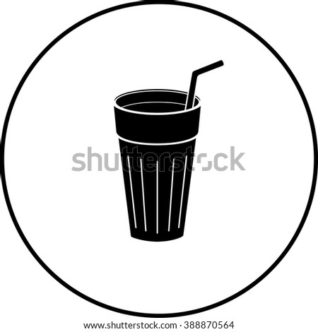 beverage glass with drinking straw symbol - stock vector