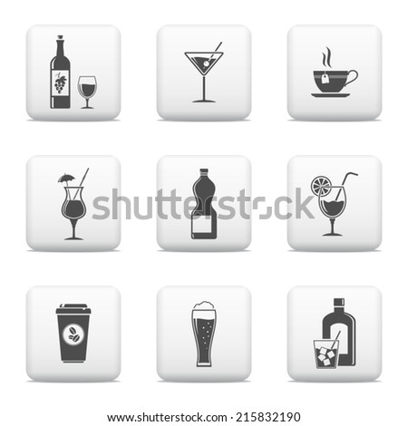 Beverage icons, vector web buttons - stock vector