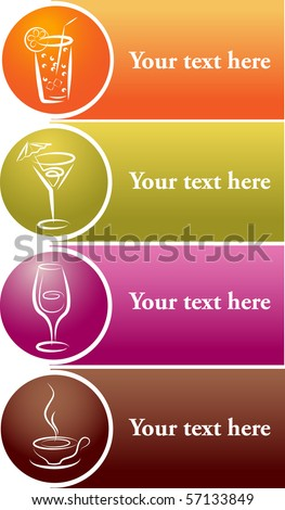 beverage icons with place for your text - stock vector