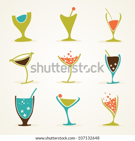 Beverage set - stock vector