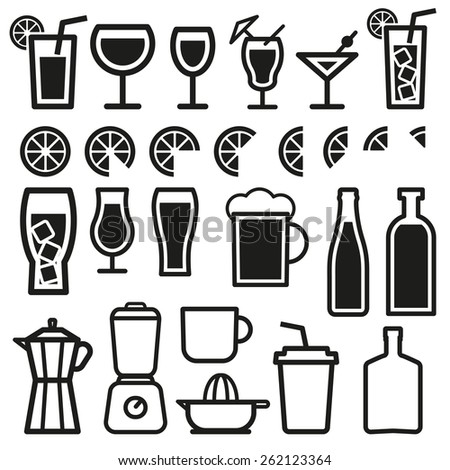 Beverage vector thin line symbol icon  - stock vector