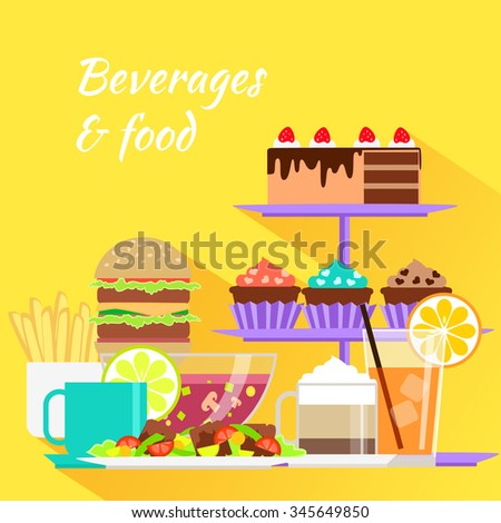 Beverages and food design flat. Drink and menu, glass and cup, coffee and dessert, lunch eat, cake and cream, tea and hamburger, burger fastfood illustration