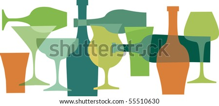 beverages, bottles and glasses in green colors-1 - stock vector