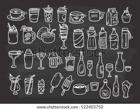 Beverages doodle set on chalkboard background