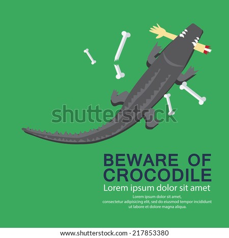 beware of crocodiles - stock vector