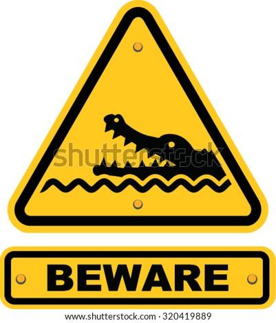 Beware Crocodiles Sign Stock Vector 320419889