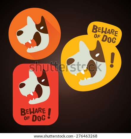 Beware of dog sign (beware of dog design, beware of dog label, Sticker) - stock vector
