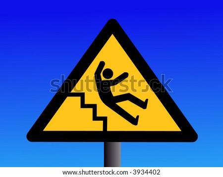 Beware of slippery steps sign on blue illustration - stock vector