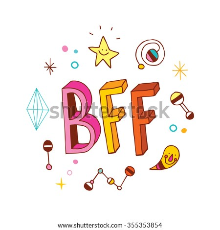 BFF - Best Friends Forever - stock vector