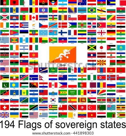 Bhutan, collection of vector images of flags of the world