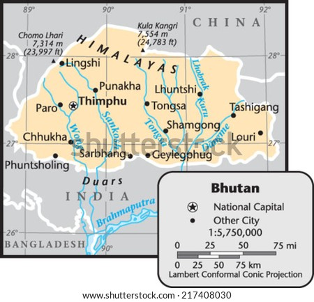 Bhutan Country Map Stock Vector 217408030 Shutterstock