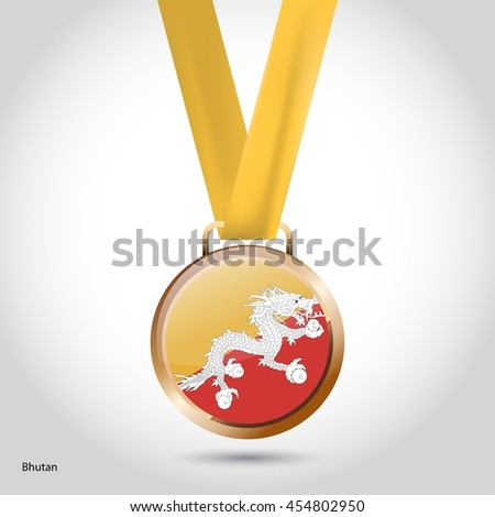 Bhutan Flag in Bronze Medal. Olympic Game Bronze Medal. Vector Illustration - stock vector