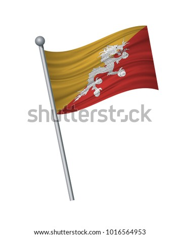 bhutan flag on the flagpole. Official colors and proportion correctly. waving of bhutan flag on flagpole, vector illustration isolate on white background.