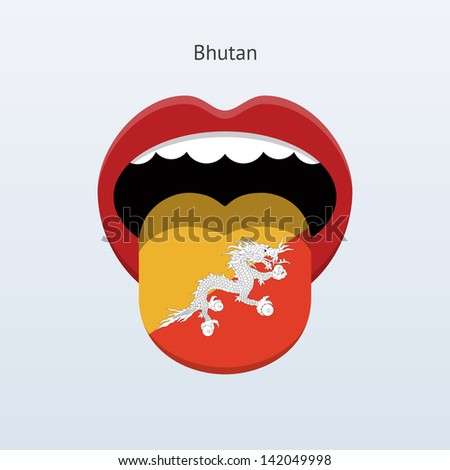 Bhutan language. Abstract human mouth. Vector illustration.