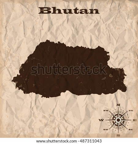 Bhutan old map with grunge and crumpled paper. Vector illustration