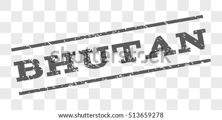 Bhutan watermark stamp. Text caption between parallel lines with grunge design style. Rubber seal stamp with scratched texture. Vector grey color ink imprint on a chess transparent background.