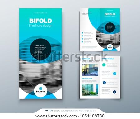Bi Fold Brochure Design Blue Business Stock Vector 1051108730