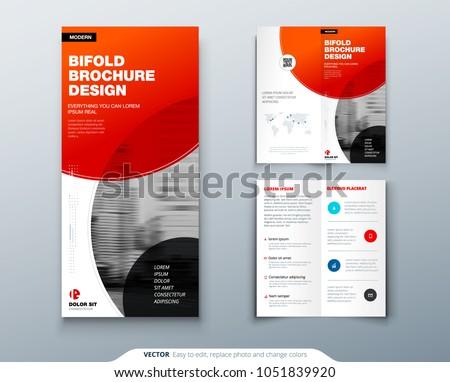 Bi Fold Brochure Design Red Business Stock Vector 1051839920