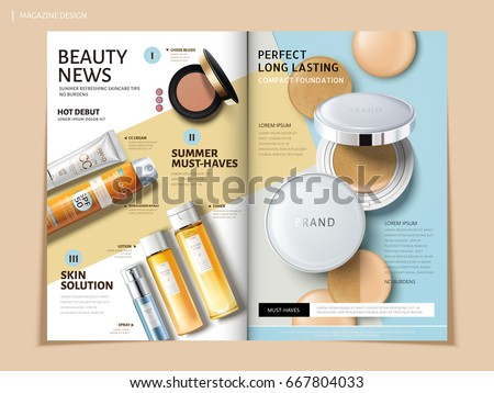 bi fold brochure featuring cosmetic and sun proof products, can be used on magazine or catalogs, 3d illustration