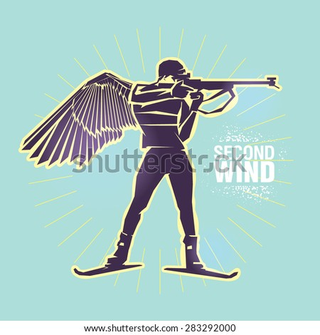 "Biathlon. Vector illustration created in topic ""Second wind "" - stock vector"