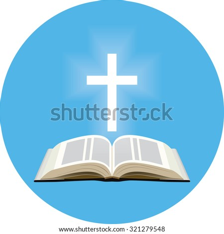 Bible and shining cross concept. Icon in blue circle on white background - stock vector