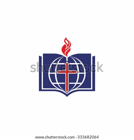 Bible, globe, flame, cross, pages, icon, missions - stock vector