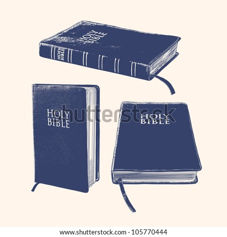 Bible hand drawn vector llustration realistic sketch