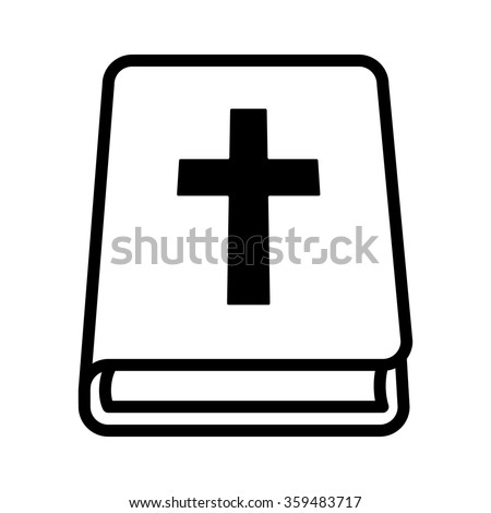 Bible Holy Book With Cross Line Art Icon For Apps And Websites