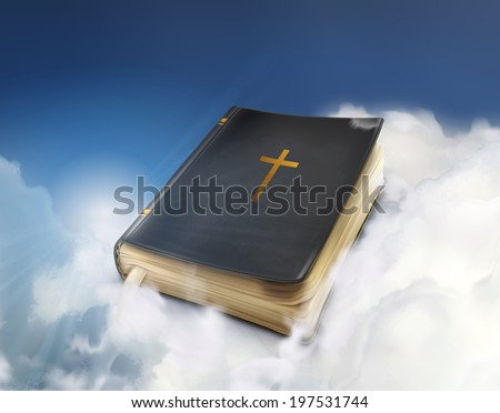 Bible, old book in the clouds vector illustration - stock vector
