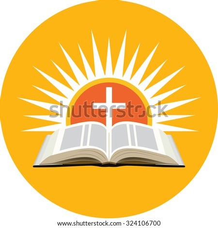 Bible, sunset and cross. Church logo concept. Icon in orange circle on white background - stock vector