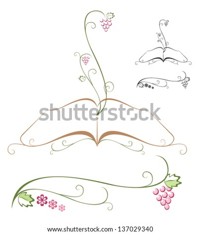 Bible with grapevine growing out of it. Vector - stock vector