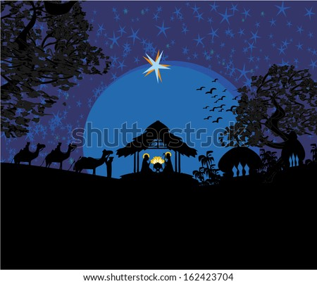 Biblical scene - birth of Jesus in Bethlehem.  - stock vector