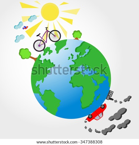 Bicycle and car on planet Earth vector illustration. Ecological concept - stock vector