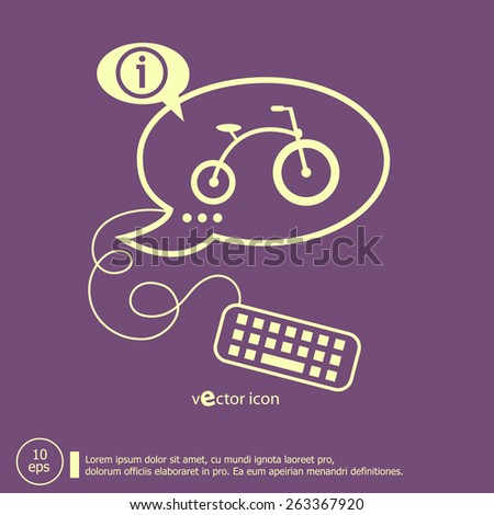 Bicycle and keyboard design elements. Line icons for application development, web page coding and programming, creative process - stock vector