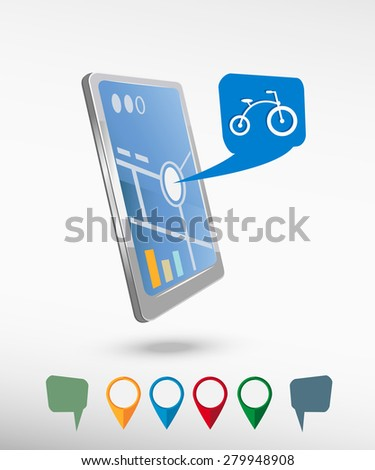 Bicycle and perspective smartphone vector realistic. Set of bright map pointers for printing, website, presentation element and application mockup. - stock vector