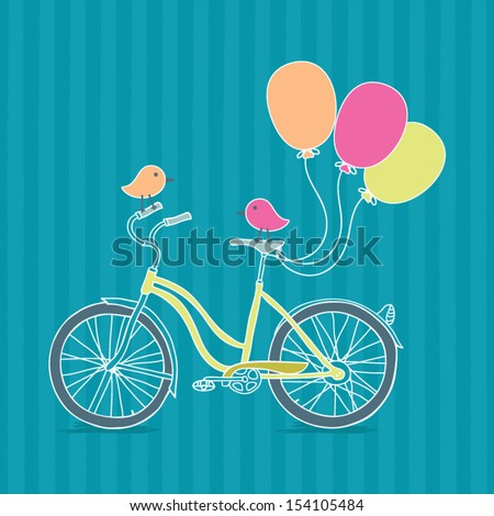 Bicycle, balloons and birds illustration - stock vector