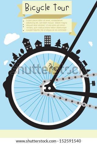 bicycle banner poster tour - stock vector