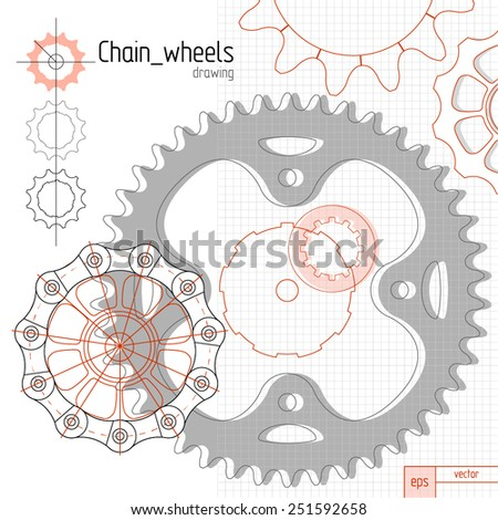Bicycle chain wheels. Vector background composition - stock vector