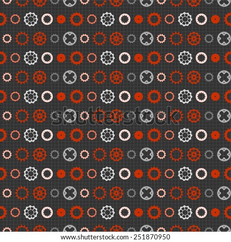 Bicycle chain wheels. Vector seamless background pattern - stock vector