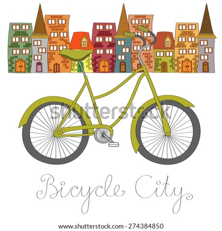 Bicycle city vector illustration - stock vector