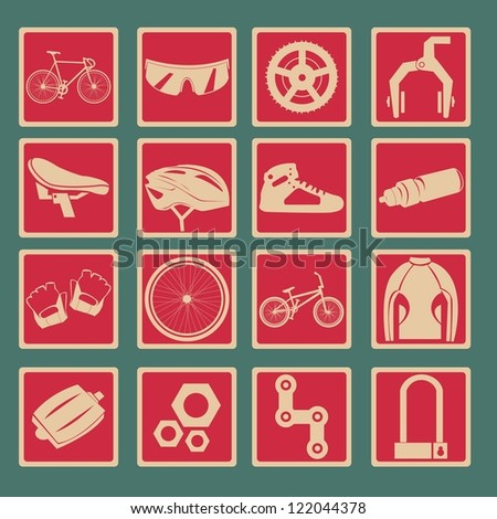 Bicycle classical icon set - stock vector