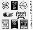 bicycle club badges back and white collection - stock