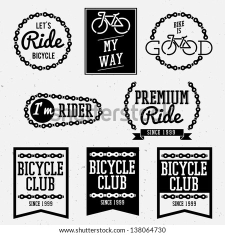 bicycle club badges back and white collection - stock vector